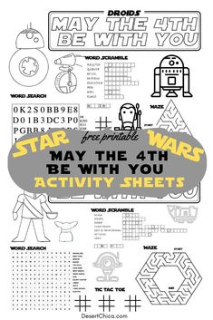 Free printable Star Wars Activity Sheets to celebrate Star Wars Day. These pages are great for kids or for adults to complete on May the Be With you day or during a Star Wars themed party. Star Wars Day, Star Wars Kids, Star Wars Classroom, Printable Star, Star Wars Prints, Star Wars Games, Star Wars Birthday, Activity Sheets, Activities