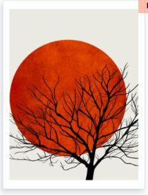 Winter Sunset Art Print by Kubistika. Art And Illustration, Art Illustrations, Country Wall Art, Kunst Poster, Bird Poster, Winter Sunset, Arte Sketchbook, Sunset Art, Modern Art Prints