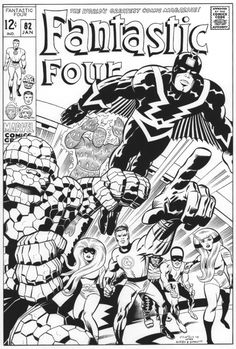 JACK KIRBY Fantastic Four 82 cover recreation, in Gary Martin's Recreations For Sale Comic Art Gallery Room