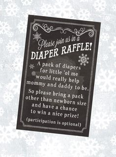 This chalkboard inspired Diaper Raffle Ticket is associated with the Baby Its Cold Outside invitation in my shop here: