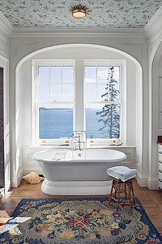 Recess for tub; repeating arches.