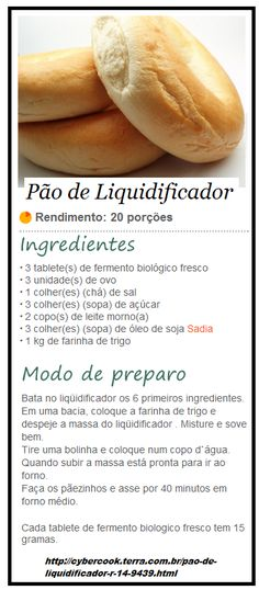 Pão de Liquidificador I Love Food, Good Food, Yummy Food, Food N, Food And Drink, English Food, Creative Food, Sweet Recipes, Easy Meals