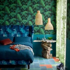 A green and blue master bedroom design with a strong tropical theme and a pair of straw suspension lamps. Blue Master Bedroom, Bedroom Green, Master Bedroom Design, Bedroom Designs, Bedroom Themes, Home Decor Bedroom, Bedroom Furniture, Bedroom Ideas, Ikea Bedroom