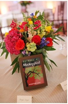 Book Centerpieces #tokillamockingbird #harperlee #bookcenterpieces #centerpieces #flowers #decor