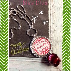 """USE MINI FRAMES TO SAY JINGLE ALL THE WAY< LET IT SNOW OR WISE MEN SEEK HIMBottle Cap """"I Love Candy Canes"""" Jingle Bell Necklace on Etsy, $8.00"""