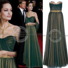 Angelina Jolie Strapless Beaded Dark Green nude lining long Evening Celebrity Dress