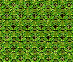 Celtic Clouds green yellow black fabric by ingridthecrafty on Spoonflower - custom fabric