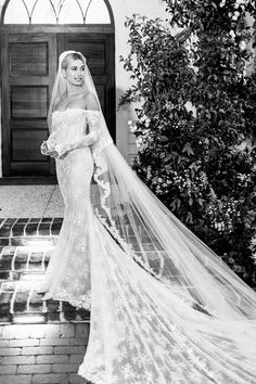 """Hailey Baldwin married Justin Bieber in an Off-White wedding gown designed by Virgil Abloh, the bride has revealed. Her veil was embroidered with the words: """"Till death do us part"""". Wedding Dress Train, White Wedding Dresses, Designer Wedding Dresses, Wedding Gowns, Wedding Day, Wedding Hacks, Elegant Dresses, Sexy Dresses, Summer Dresses"""