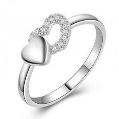 925 Sterling Silver  Fashion Heart Diamond Women's Ring - USD$68.95