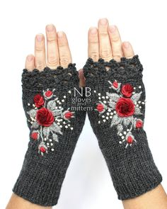 Knitted Fingerless Gloves, Dark Grey, Red, Gray, Roses, Gloves & Mittens, Gift…