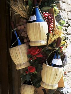 Chianti bottles, there is something about the bottle in the basket I really like