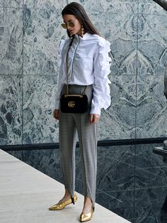 2017 Idea #4: Stirrup pants are going to be big news, so wear them with chic heels and a smart white shirt or blouse for the most polished take.