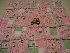 Pink and Green John Deere Baby Girl Rag Quilt Blanket