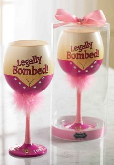 Legally Bombed Wine Glass by Mud Pie