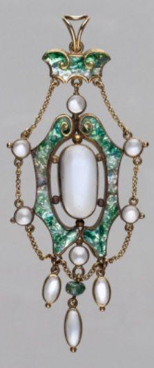 James Cromar Watt - An Arts and Crafts gold, enamel and moonstone pendant, circa 1907. #JamesCromarWatt #ArtsAndCrafts #pendant