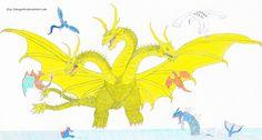ghidorah (godzilla) vs several pokemon