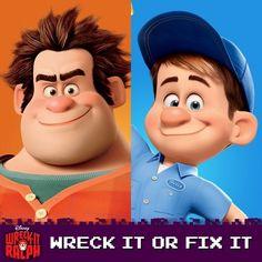 a little fun Disney Pixar, Disney Characters, Fictional Characters, Fix It Felix Jr, Vanellope Von Schweetz, Wreck It Ralph, Animated Cartoons, Good Movies, Luigi