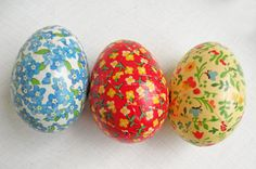 3 Vintage Calico Easter Eggs Paper Mache Plastic Bright Colorful Easter Decor Blue Red Yellow Spring Vegan Country Cottage Decor