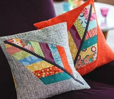 Sewing Cushions Feathers cushions by Jo Avery for issue 9 of Love Patchwork Patchwork Cushion, Patchwork Quilting, Quilted Pillow, Patchwork Ideas, Crazy Patchwork, Scrap Fabric Projects, Fabric Scraps, Sewing Projects, Quilt Modernen