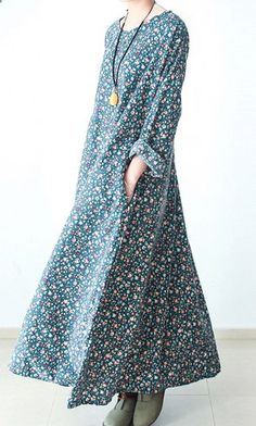 Blue long print cotton dress gown plus size dresses