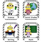 Hello!  Are you looking for more minion decorations for your classroom?  These schedule labels are unique in that the clip art was created especial...