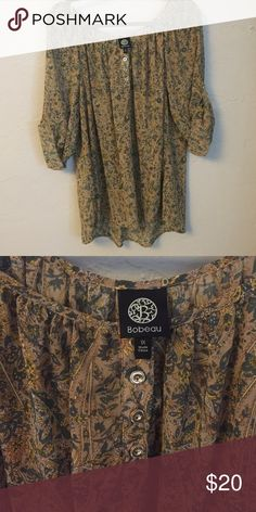 Bobeau top with cuffed sleeve Very cute top in a green and brown floral pattern! NWOT! bobeau Tops Blouses
