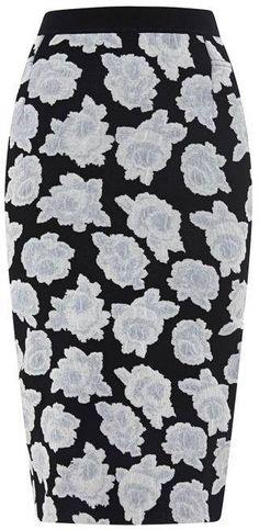 Nina Ricci Floral Jersey-Jacquard Knit Skirt Black White