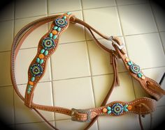 Turquoise, orange shells and seed beaded   conchos