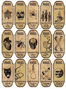 Halloween 15 Magic Voodoo Apothecary Bottle Labels Stickers Scrapbooking Crafts   eBay