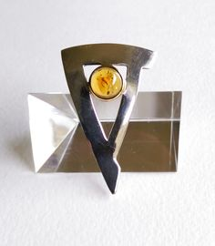 Modernist Amber and Sterling Silver and Brass by 55thAvenueVintage