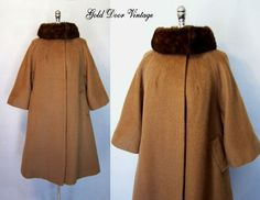 Elegant Vintage 60s LILLI ANN Mohair Mink Fur Trim Swing Coat Large #LilliAnn