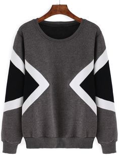 Geometric Print Thicken Grey Sweatshirt 13.00