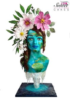 Mother Earth : Acts of Green Collaboration - Cake by Sweet Creations Cakes World Earth Day, Cupcake Queen, Woodland Cake, Cool Cake Designs, Green Cake, Cake Decorating Videos, Teen Art, Chocolate Sculptures, Sculpted Cakes
