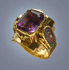 ARTS & CRAFTS  Ecclesiastical Gold Enamel Amethyst Ring c1910.......