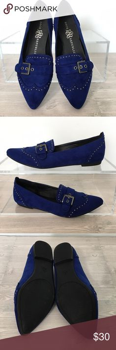 Rock & Republic Studded Blue Suede Shoes Size 6 Royal Blue flats made with a suede like textile.  Embellished with silver studs and silver buckle.  Size 6.  Perfect condition, they look brand new! Rock & Republic Shoes Flats & Loafers