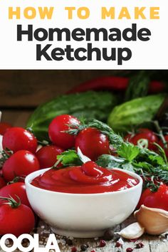 Knowing how to make ketchup at home can seem like a daunting task and it does require time and patience, but the benefits of making fresh tomato ketchup from scratch are immeasurable Homemade Tomato Ketchup, Tomato Ketchup Recipe, Homemade Ketchup Recipes, Homemade Pickles, Homemade Bbq, Canning Recipes, Raw Food Recipes, Tomato Sauce, Heinz Ketchup Recipe