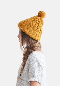 Hand Knit Beanie in Mustard Yellow Cable Knit Womens by Plexida