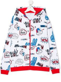Multicoloured cotton TEEN cartoon print hoodie from LITTLE MARC JACOBS featuring a graphic print, a hood, a front zip fastening, long sleeves, fitted cuffs and side pockets. Little Marc Jacobs, World Of Fashion, Kids Boys, Printed Cotton, Luxury Branding, Your Style, Teen, Cartoon, Hoodies