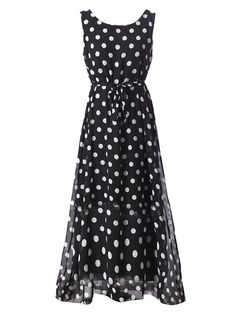 Elegant Women Belt Polka Dots Sleeveless Chiffon Long Maxi Dress For Women