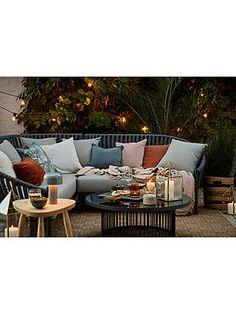 John Lewis & Partners Chunky Weave 5-Seater Garden Corner Sofa Set, Grey
