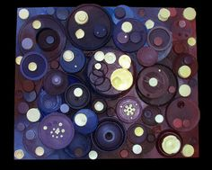 this is the final version of the recycled art project. i took lids and glued them onto a canvas board with extra supports. then i painted it!. the idea was that most lids from containers cannot be recycled, so i wanted to use them in a creative way and give them a purpose.