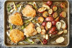 The secret to this sheet pan recipe is twofold: the skin-on chicken thighs and the mixture of fresh sage and scallions.