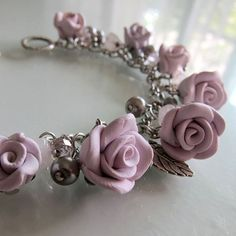 Lavender Rose Bracelet  Polymer Clay by beadscraftz on Etsy, $40.00