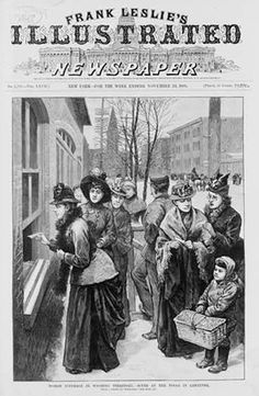 Women Vote in Cheyenne, November 1888. The steeple of the Union Pacific Depot is visible in the background. Library of Congress.