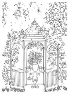 Secret Garden Adult Coloring Book Lovely Garden Coloring Pages for Adults Adult Coloring Pages, Garden Coloring Pages, Coloring Pages For Grown Ups, Printable Coloring Pages, Colouring Pages, Coloring Sheets, Coloring Books, Parchment Craft, Colorful Garden