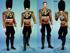 Grand formal outfit worn by the monarch on very special formal occasions, it has a breastplate that reflects lighting, lots of gold stitching. As Fancy as it gets. The pants flare out in...