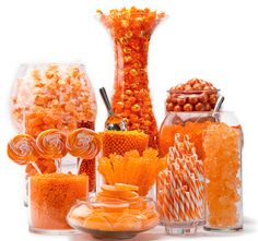 Inspiration photo. Orange candy buffet.