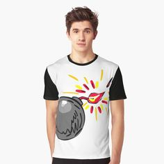 'Black Ball Bomb Burning Fuse Drawing' T-Shirt by patrimonio Sketch, Retro, Drawings, Illustration, Mens Tops, T Shirt, Stuff To Buy, Collection, Black