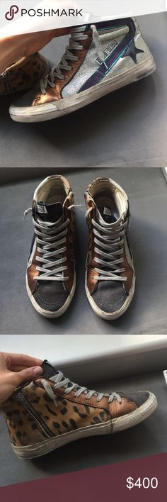 Golden Goose Sneakers Perfect condition GGDB (golden goose deluxe brand) sneakers. Leopard print on one side, silver glitter star on the other. Super super cool and the most comfortable sneakers EVER! Golden Goose Shoes Sneakers