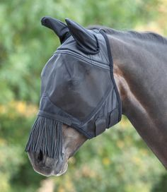 Fine Mesh Fly Mask With Ears And Nose Fringe From Shires Equestrian